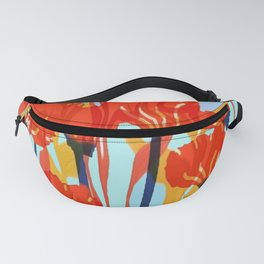 Red Fall Flowers Fanny Pack