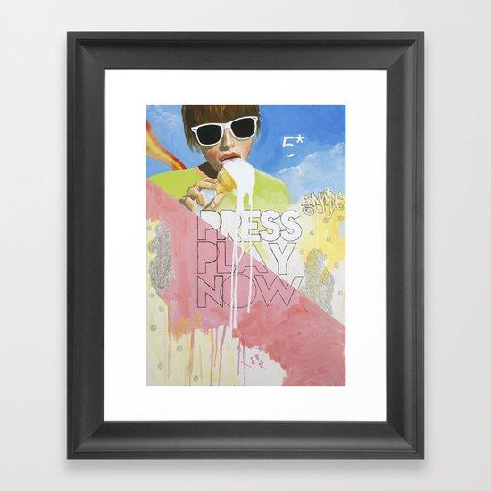Press Play Now Framed Art Print