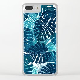 Navy Tropics Clear iPhone Case