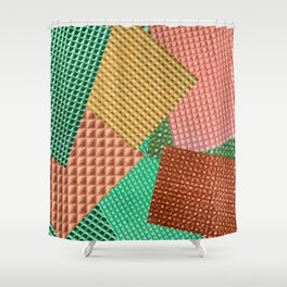 Abstract collage of color images of food waffles Shower Curtain