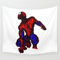 spider man Wall Tapestries featuring Spider man  by Bearskin