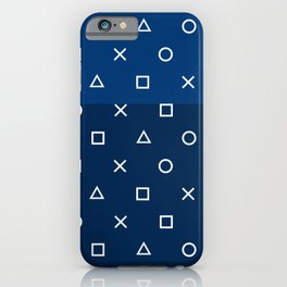 Gamepad Symbols Pattern - Navy Blue iPhone Case