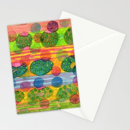 Round Shapes within and above horizontal Stripes Stationery Cards