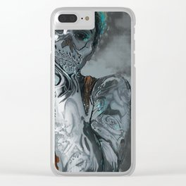 My face is a skull Clear iPhone Case