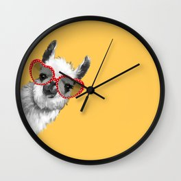 Fashion Hipster Llama with Glasses Wall Clock