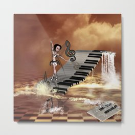Cute girl dancing on a piano on the beach Metal Print