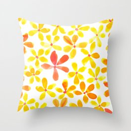 Retro Flowers - Yellow and Orange Throw Pillow