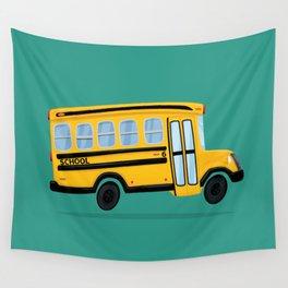 Cute School Bus Wall Tapestry