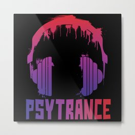 Psytrance headphones Metal Print