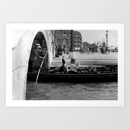 Last man standing, urban, black and white, photography, street photo, Venice, city Art Print