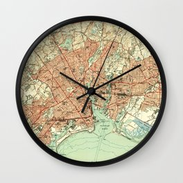 Vintage Map of Bridgeport Connecticut (1951) 2 Wall Clock