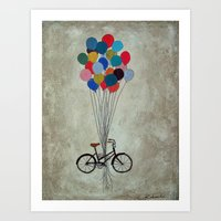 Bicycle with Balloons Art Print