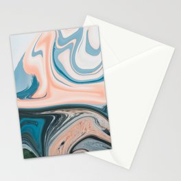 Blue Vanilla Cream Liquid Marble Swirling Pattern Texture Artwork #1 Stationery Cards