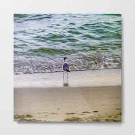 A Seagull Looks Out to Sea Metal Print