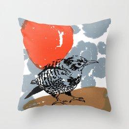 Northern Flicker Abstract Woodpecker Bird and Sun Throw Pillow