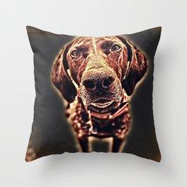 Focused Dog Throw Pillow
