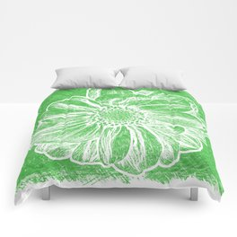 White Flower On Tech Green Crayon Comforters