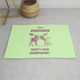 I'm Drummer What's Your Superpower Funny Drums Vintage Drumming Distressed Rug