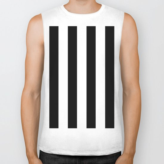 Simply Vertical Stripes in Midnight Black Biker Tank