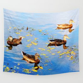 Ducks on a Pond Wall Tapestry