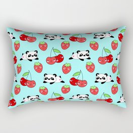 Cute funny Kawaii chibi little playful baby panda bears, happy sweet ripe red cherries and strawberries light pastel blue seamless pattern design. Nursery decor. Rectangular Pillow