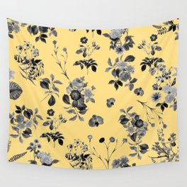 Black and White Floral on Yellow Wall Tapestry