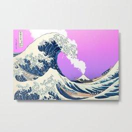 Great Wave Off Kanagawa Mount Fuji Eruption Gradient Purple and Pink Metal Print