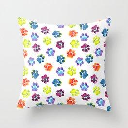 Rainbow Paw Print Pattern Throw Pillow
