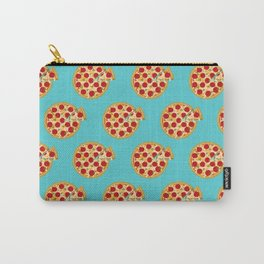 Blue cyan pizza party, salami pizza pattern Carry-All Pouch