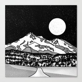 Mount Shasta Black and White Canvas Print