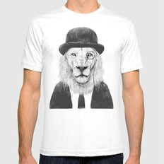 Sir lion Mens Fitted Tee MEDIUM White