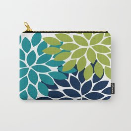 Bold Colorful Teal Green Navy Dahlia Flower Burst Petals Carry-All Pouch
