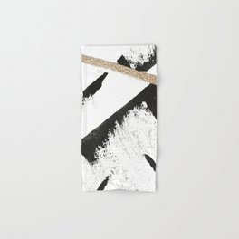 Sassy: a minimal abstract mixed-media piece in black, white, and gold by Alyssa Hamilton Art Hand & Bath Towel