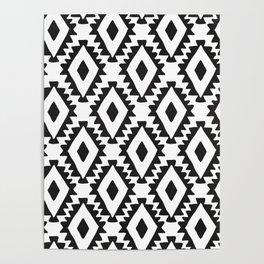 Aztec geometrics - B&W Poster