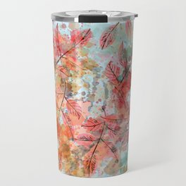 Watercolor autum foliage on blue Travel Mug