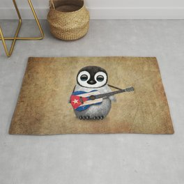 Baby Penguin Playing Cuban Flag Guitar Rug
