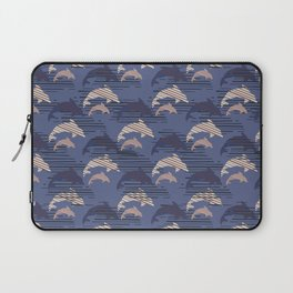 Biege and Blue Cute Kids Dolphin Silhouette Laptop Sleeve