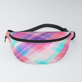 Girly Artsy Bohemian Pink Blue Purple Paint Plaid Fanny Pack