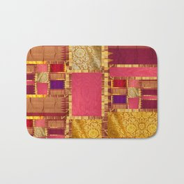"""""""Exotic fabric, ethnic and bohemian style, patches"""" Bath Mat"""