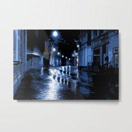 Blue rainy night on the street Metal Print