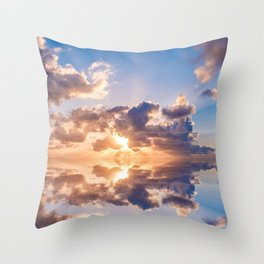 sunset sky over ocean water - landscape photography Throw Pillow