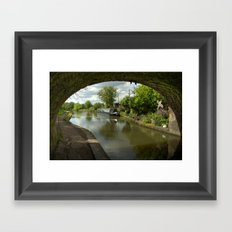Barge thro the bridge Framed Art Print