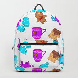 Lovely gingerbread men cookies, chocolate, hot cocoa with marshmallows, cozy homey winter pattern Backpack