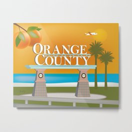 Orange County, California - Skyline Illustration by Loose Petals Metal Print