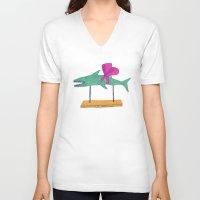 shark V-neck T-shirts featuring shark by Maybe Mary