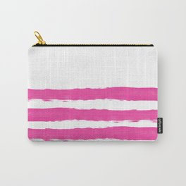 Simply hand painted pink stripes on white background -Mix and Match Carry-All Pouch