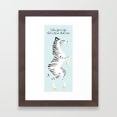 Blue Zebra (Dr. Seuss quote) Left Framed Art Print