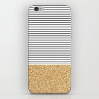 gold glitter iPhone & iPod Skins featuring Minimal Gold Glitter Stripes by Allyson Johnson