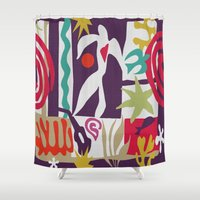 matisse Shower Curtains featuring Inspired to Matisse (violet) by Chicca Besso
