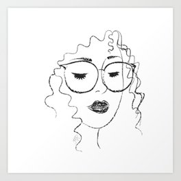 Curls 'n Glasses Art Print